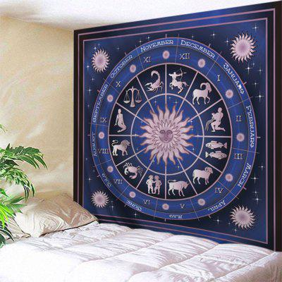 Buy DEEP BLUE Wall Hanging Art Decor 12 Constellations Print Tapestry for $12.18 in GearBest store