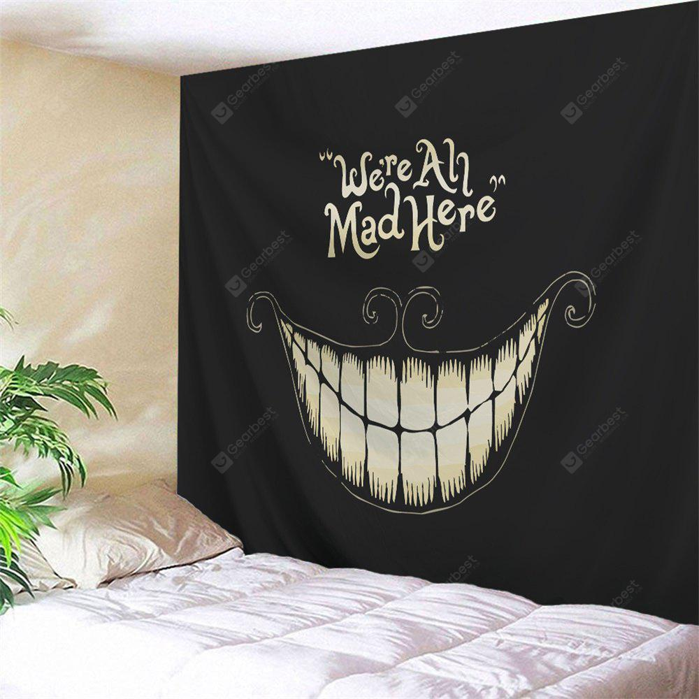 BLACK Wall Art Halloween Funny Smile Printed Tapestry