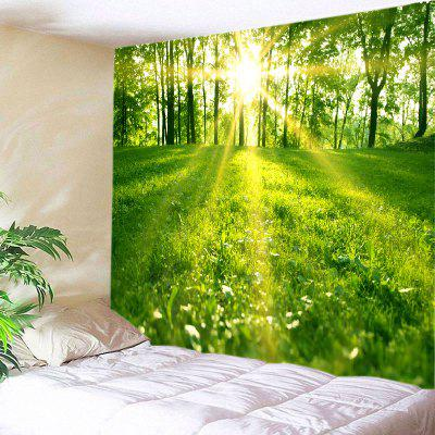 Buy GREEN Wall Hanging Art Sunlight Forest Lawn Print Tapestry for $18.98 in GearBest store