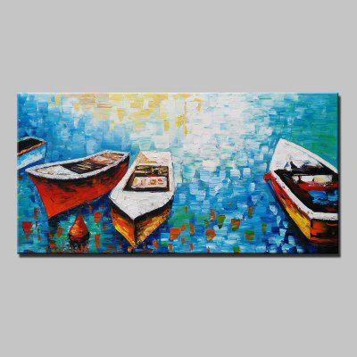 Abstract Colorful Boat Canvas Oil Painting Modern Art