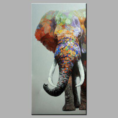YHHP Hand Painted Colorful Elephant Oil Painting