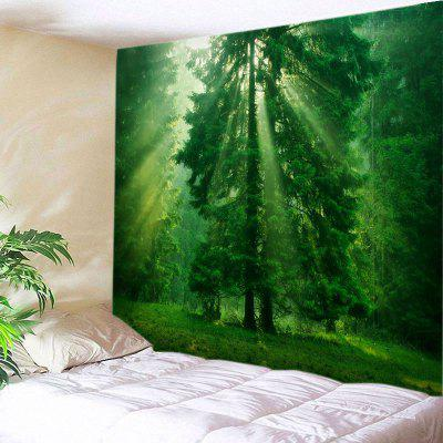 Buy GREEN Wall Hanging Art Forest Sunlight Trees Print Tapestry for $22.30 in GearBest store