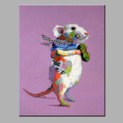 YHHP Hand Painted Colorful Mouse Canvas Oil Painting