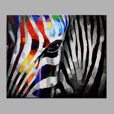 YHHP Hand Painted Colorful Zebra Canvas Oil Painting