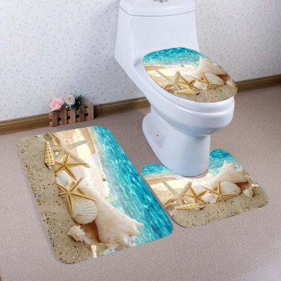 Buy LAKE BLUE Beach Conch Starfish Pattern 3 Pcs Toilet Mat Bath Mat for $17.85 in GearBest store