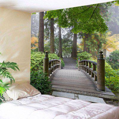 Buy GREEN Wall Hanging Art Decor Forest Wood Bridge Print Tapestry for $18.98 in GearBest store