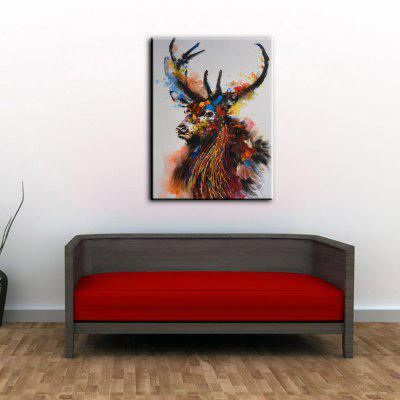 YHHP Colorful Deer Canvas Oil Painting