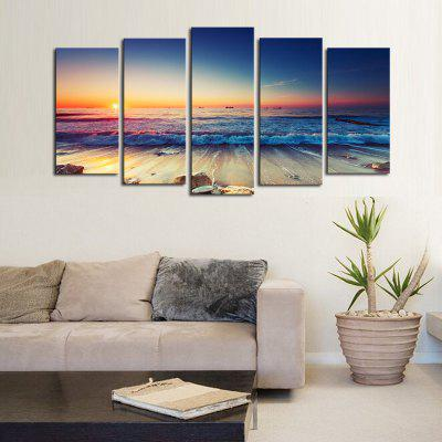 5PCS Modern Wall Art Painting Sunrise at Sea Canvas Prints Home Decor Picture Artwork