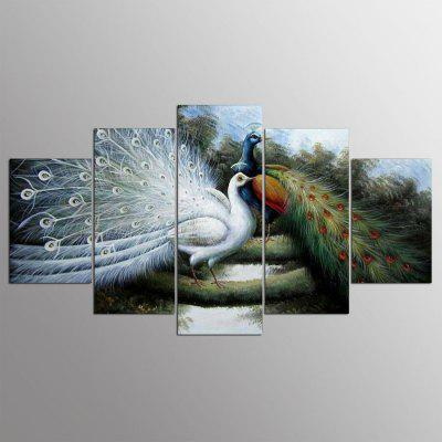 5PCS YSDAFEN Peacock Canvas Prints Home Decor Picture Artwork Framed Wall Art Painting