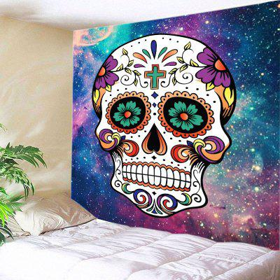 Buy COLORMIX Wall Hanging Art Decor Galaxy Floral Skull Print Tapestry for $18.98 in GearBest store