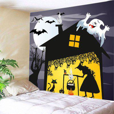 Buy BLACK Wall Hanging Art Decor Halloween Night Witch Print Tapestry for $14.03 in GearBest store