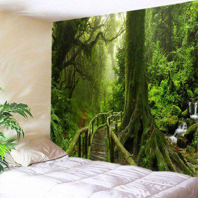 Buy GREEN Wall Hanging Art Decor Forest Bridge Falls Print Tapestry for $16.31 in GearBest store