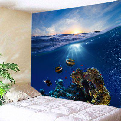Buy DEEP BLUE Wall Hanging Art Ocean Fish Print Tapestry for $12.46 in GearBest store