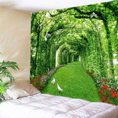 Buy GREEN Wall Hanging Art Decor Tree Floral Path Print Tapestry for $12.46 in GearBest store
