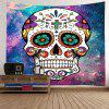 Wall Hanging Art Decor Galaxy Floral Skull Print Tapestry - COLORMIX