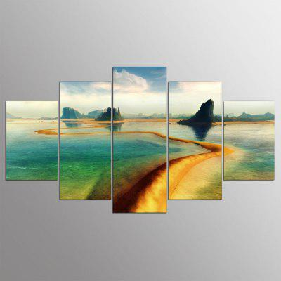 5PCS YSDAFEN Modern Long River Canvas Prints Home Decor Picture Artwork Framed Wall Art Painting