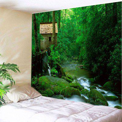 Buy GREEN Wall Hanging Art Decor Forest Stream Print Tapestry for $22.30 in GearBest store