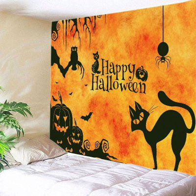 Buy DEEP YELLOW Wall Hanging Art Decor Happy Halloween Animals Print Tapestry for $13.14 in GearBest store