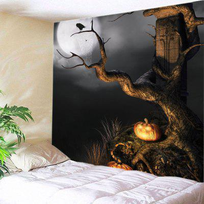 Buy BLACK Wall Hanging Art Decor Halloween Moon Tree Print Tapestry for $14.03 in GearBest store