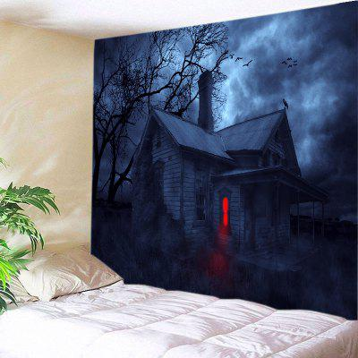 Buy DEEP BLUE Wall Hanging Art Decor Halloween Night House Print Tapestry for $22.30 in GearBest store