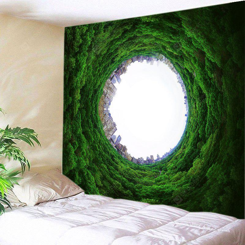 GREEN Wall Hanging Art Decor Trees Hole City Print Tapestry