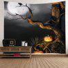 Wall Hanging Art Decor Halloween Moon Tree Print Tapestry - BLACK