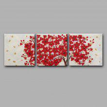 3PCS YHHP Red Flowers Modern Canvas Oil Painting