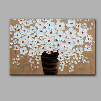 YHHP White Flowers Modern Canvas Oil Painting