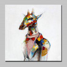 Mintura Hand Painted Colorful Giraffe Canvas Oil Painting