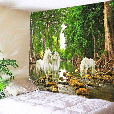 Wall Hanging Art Decor Forest River Unicorn Print Tapestry