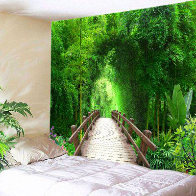 Buy GREEN Wall Hanging Art Decor Bridge Bamboo Forest Print Tapestry for $12.46 in GearBest store