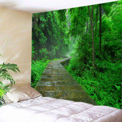 Buy GREEN Wall Hanging Art Decor Forest Stone Path Print Tapestry for $18.98 in GearBest store