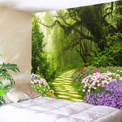 Buy GREEN Wall Hanging Art Decor Floral Forest Path Print Tapestry for $22.30 in GearBest store