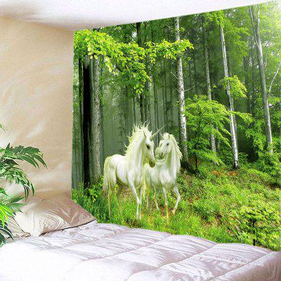 Buy GREEN Wall Hanging Art Decor Forest Unicorns Print Tapestry for $18.98 in GearBest store