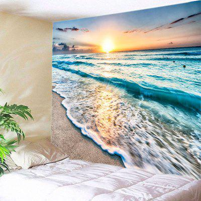 Buy LAKE BLUE Wall Hanging Art Decor Sunrise Beach Waves Print Tapestry for $12.46 in GearBest store