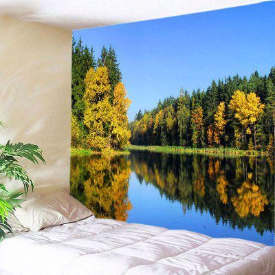 Buy COLORMIX Wall Hanging Art Lake Forest Print Tapestry for $12.46 in GearBest store