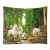 Wall Hanging Art Decor Forest River Unicorn Print Tapestry - GREEN