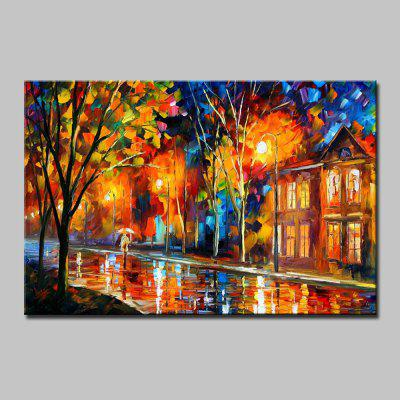 Mintura Colorful Street View Modern Canvas Oil Painting
