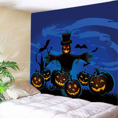 Buy BLUE Wall Hanging Art Halloween Pumpkin Strawman Print Tapestry for $18.98 in GearBest store