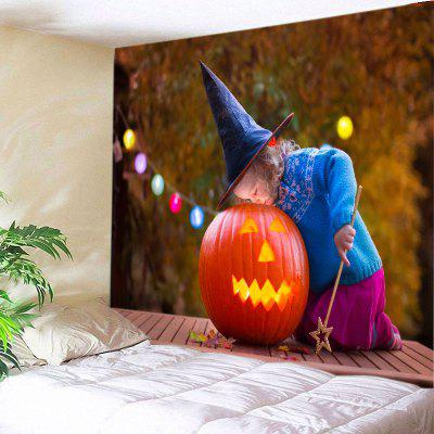 Buy JACINTH Wall Hanging Art Decor Halloween Girl Pumpkin Print Tapestry for $14.03 in GearBest store