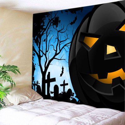 Buy BLACK Wall Hanging Art Decor Halloween Night Pumpkin Print Tapestry for $18.98 in GearBest store