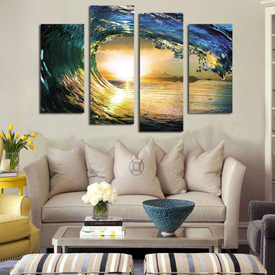 4PCS Waves Printing Canvas Wall Decoration