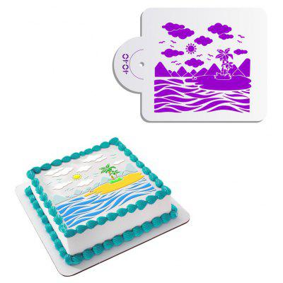 AK ST - 4040 DIY Island Pattern Birthday Cake Spray Mold
