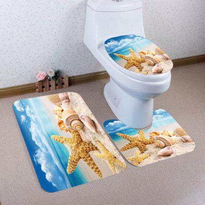 Buy COLORMIX Beach Starfish Conch Pattern 3 Pcs Toilet Mat Bath Mat for $17.85 in GearBest store