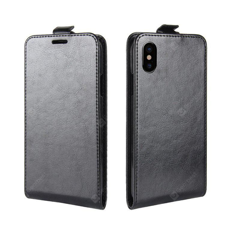 Pull-up Leather Cover Case with Card Holder for iPhone X