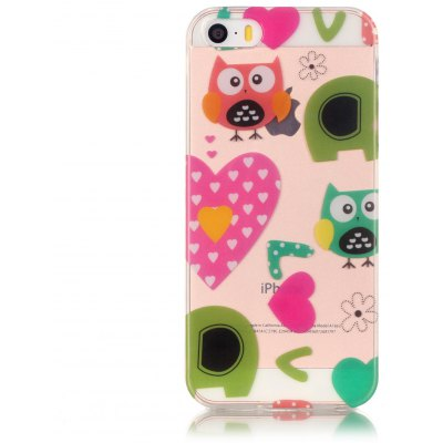ASLING TPU Lovely Owl Theme Phone Cover for iPhone 5 / 5S / SE