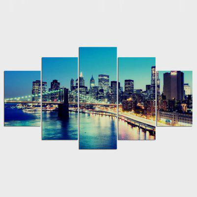 Buy COLORMIX 5PCS YSDAFEN City Night View Printed Painting Canvas Print for $55.37 in GearBest store