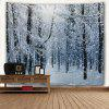 Wall Hanging Art Decor Snow Forest Print Tapestry - GREY WHITE
