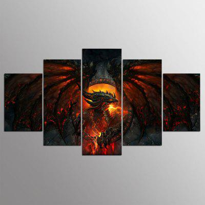 YSDAFEN kn - 519 Canvas Dragon Stampa Framed 5PCS