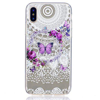 TPU Purple Butterfly Pattern Cover Case for iPhone X